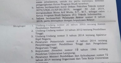 SK Ketua Program Studi Baru Teknik Informatika Periode 2019-2023