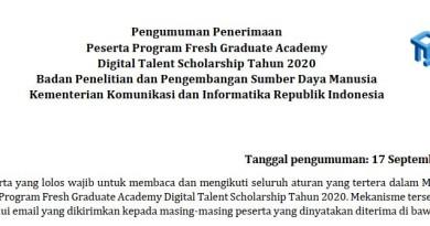 Pengumuman Penerimaan Peserta Fresh Graduate Academy (FGA) Digital Talent Scholarship 2020 – Repost